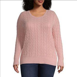 St. John's Bay Peachy Pink Metallic Cable Sweater